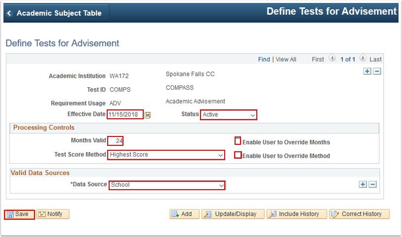Define Tests for Advisement page