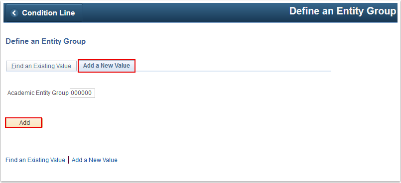 Define an Entity Group Add a New Value page