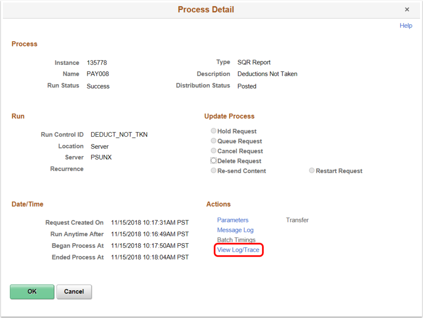 Process Detail Page-View Log/Trace Link