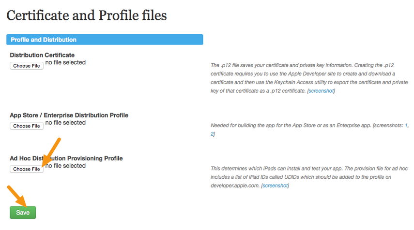 "Delete the existing Ad Hoc profile, upload your new profile, and click on ""Save."""