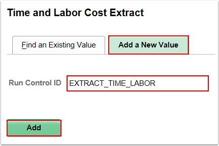 Time and Labor Extract run control page