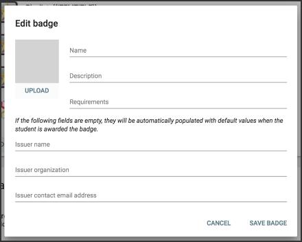 the edit badge window