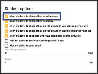 image showing student card with allow student to change their email address checked
