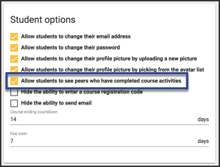 the student options window with Allow students to see peers who have completed course activities highlighted