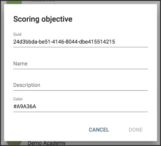 scoring objectives window