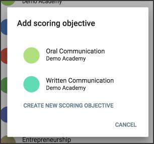 the add new scoring objective window.