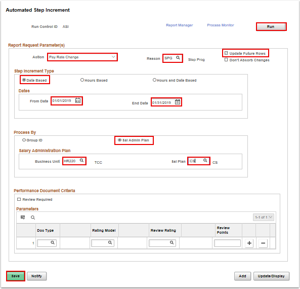 Automated Step Increase page