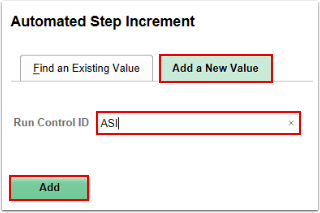 Automated Step Increment run control ID page