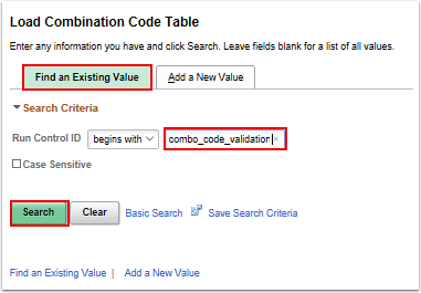 Load Combination Code Table search page
