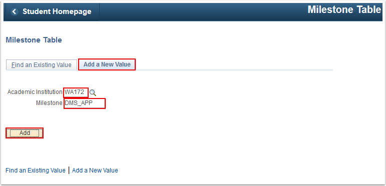 Milestone Table Add a New Value tab