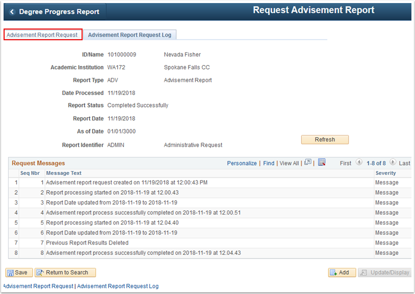 Advisement Report Request Log page