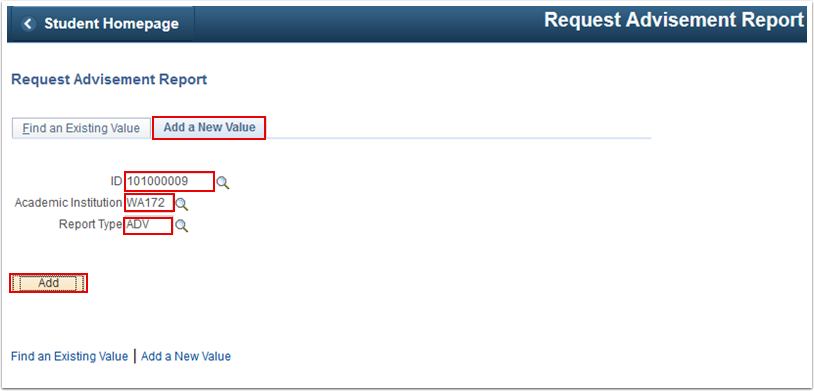 Request Advisement Report Add a New Value tab
