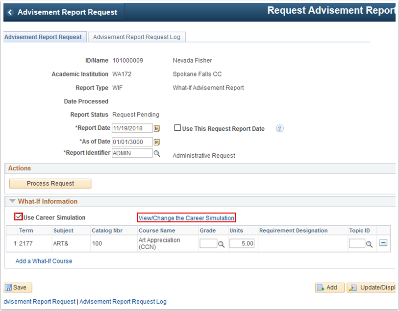 Advisement Report Request tab