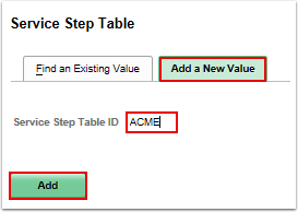 Service Step Table add a new value