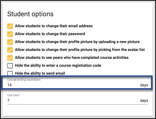 the student options screen showing a selected 14 number of days to count down