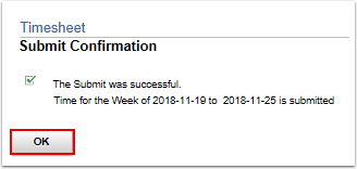 Timesheet submit confirmation