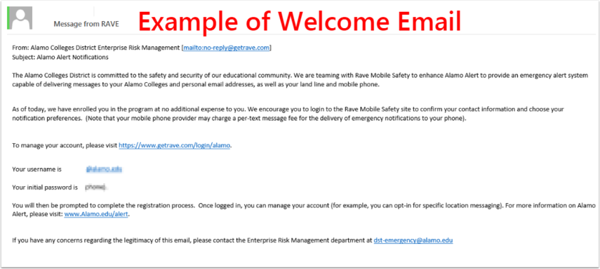 Example of Welcome Email