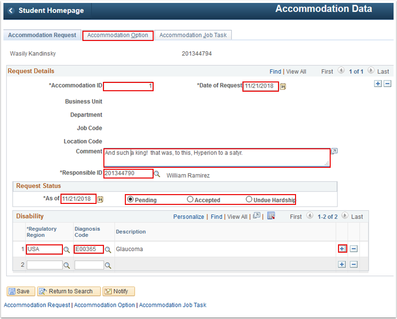 Accommodation Option tab
