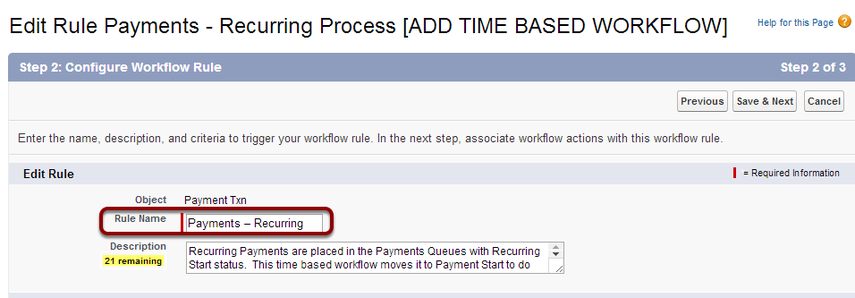 Re-name the workflow rule 'Payments - Recurring'