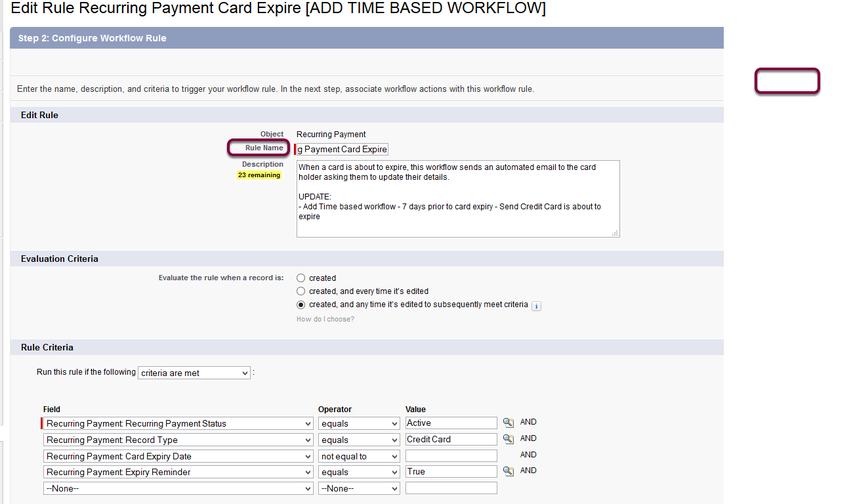 Re-name the workflow rule 'Recurring Payment Card Expire'