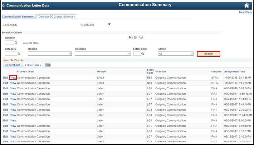 Communication Summary tab