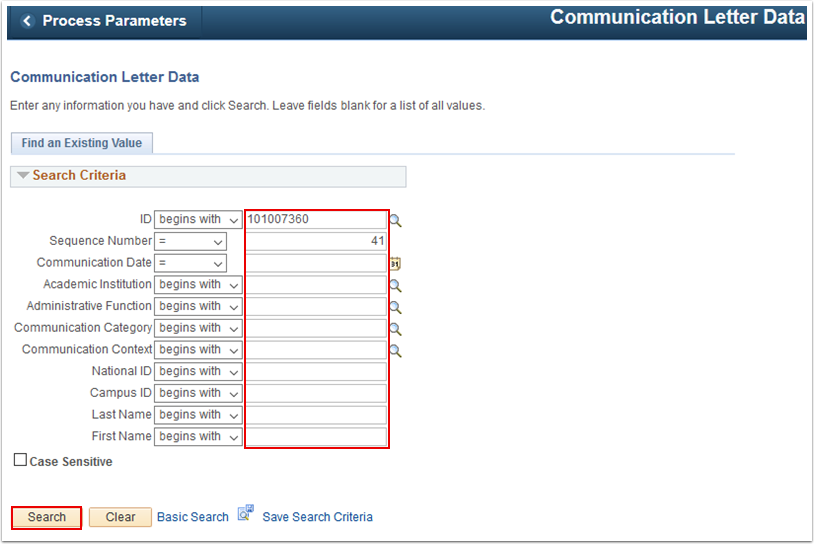 Communication Letter Data search page