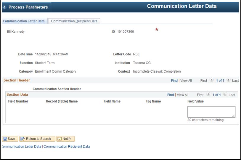 Communication Letter Data tab