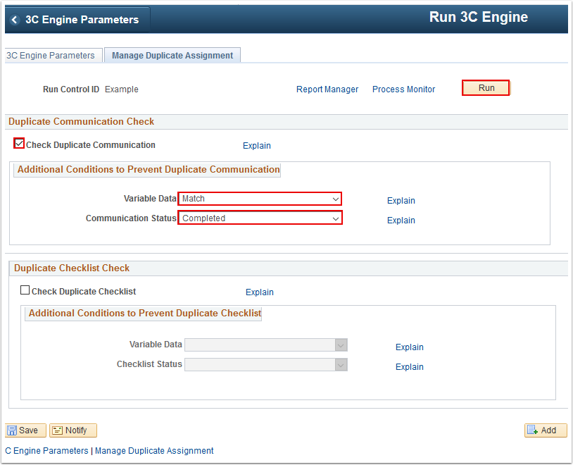 Manage Duplication Assignment tab