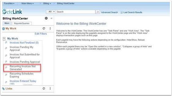 Billing WorkCenter page
