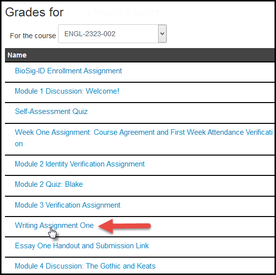 Assignments as shown for a student