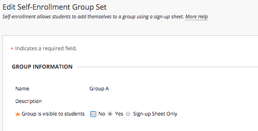 Image of the Edit Self-Enrollment Group Set with Section 1: Group Information and the option Group is visible to students: No, Yes, Signup sheet only.