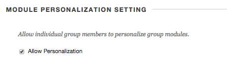 Image of Section 3: Module Personalization Settings with Allow Personalization checked.