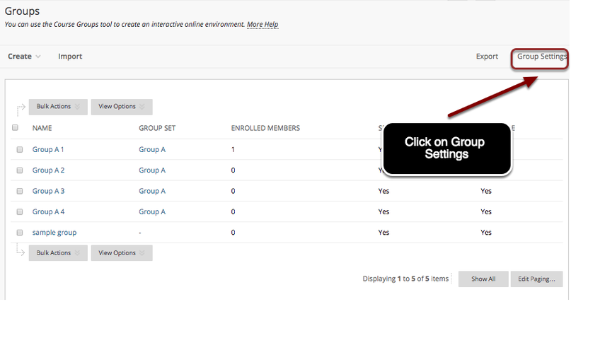 Image of the Groups page with an arrow pointing to the Group Settings button in the upper right corner, outlined with a red circle, with instructions to click on Group Settings.