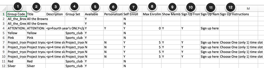Image showing the sample contents of the groups parameters spreadsheet with numbers 1-12 corresponding to the following columns: 1 - Group Code, 2- Title, 3 - Description 4- Group Set, 5 - Available, 6- Personalization, 7- Self Enroll, 8 - Max enrollment, 9- Show members, 10 - Sign up from Group List, 11 Sign up name, 12- Sign up instructions