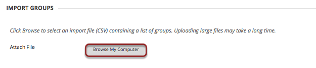 Image of the Import Groups section with the Browse My Computer button outlined with a red circle