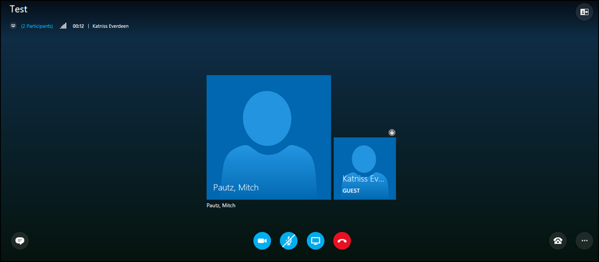Skype for Business meeting on Web App