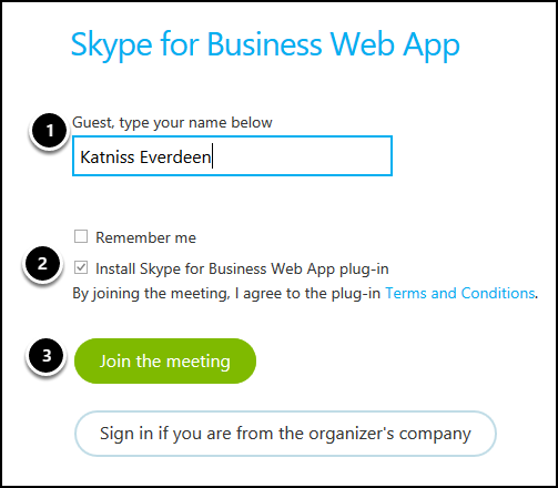 Skype Web App login screen