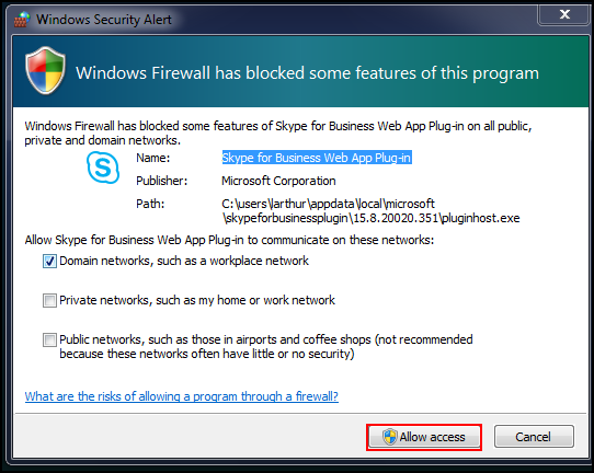 Windows Firewall warning