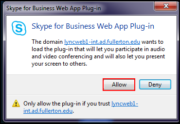 Skype for Business Web App plug-in