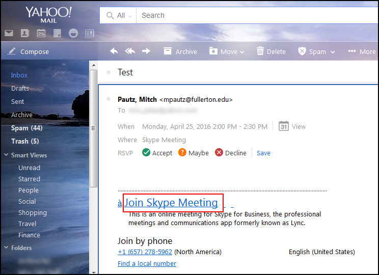 Email with Skype invite