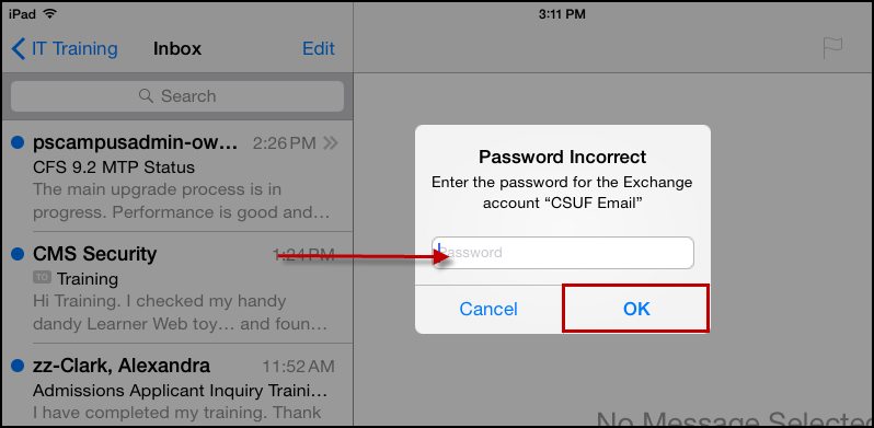 Mail app with incorrect password