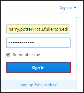 Dropbox sign in page