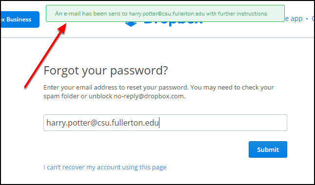 Notification of password email sent