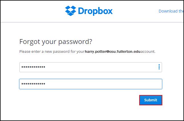 Forgot password screen with new password