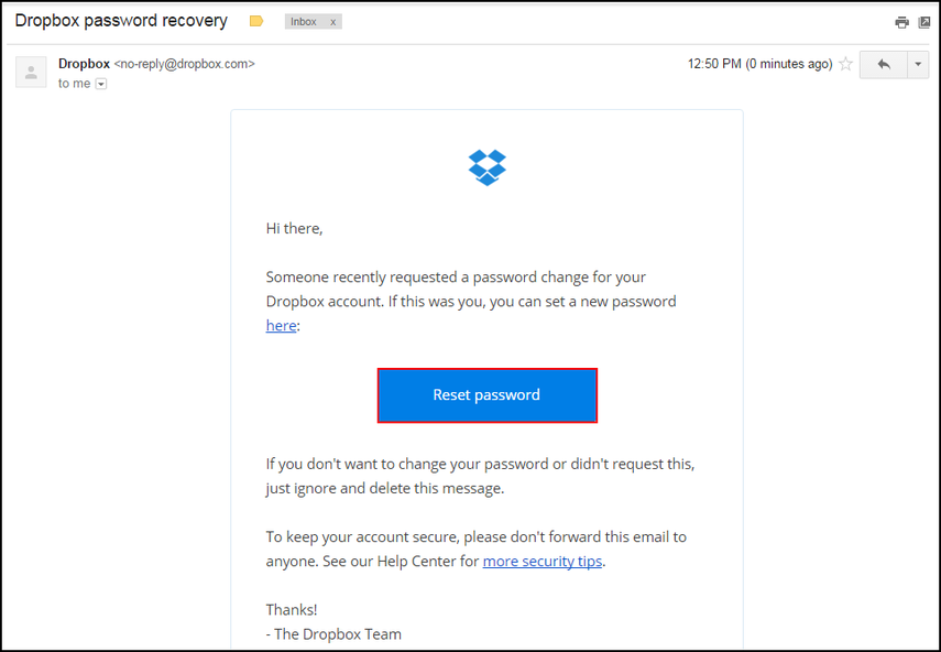 Dropbox password recovery email