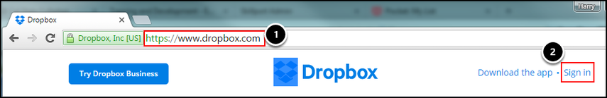 Dropbox web address