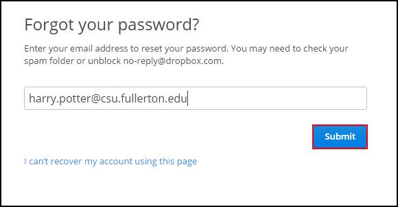 Forgot your password screen