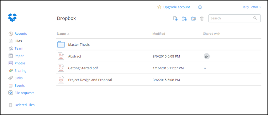 Dropbox account main page