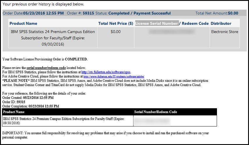 SPSS license info