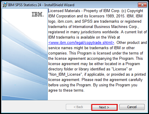 SPSS Installation wizard